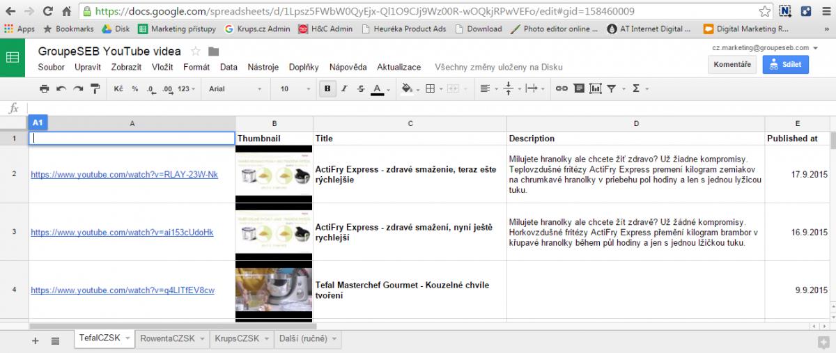 Mějte přehled ve svých videích díky Google Scripts, Sheets a YouTube Data API